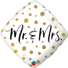 "Mr & Mrs Gold Dots Foil Balloon (18"") 1pc"